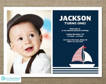 Nautical Invitation - Birthday Invitation - Ahoy - Boy Birthday - Sail Boat Invitation - First birthday - 1st birthday - DIY printable