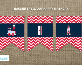 Train Printable - Train Birthday Banner - Train Birthday - Printable Party - Chevron - First Birthday - 2nd Birthday