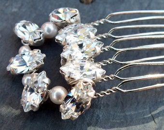 bridal  hair comb, diamanté and pearl, vintage inspired rhinestone hair accessory, bride,bridesmaid,maid of honour,white,ivory,silver