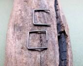 Mens Hoop Earrings - Tiny Square Hoops - Geometric Jewelry - Oxidized Sterling Silver Hoops -  Sleeper Hoop Earrings