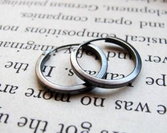 Black Hoop Earrings for Men - Men's Earrings -  Dark Sterling Silver Hoops 15mm - Unisex Jewelry - Men's Jewelry - Earrings for Men - Huggie