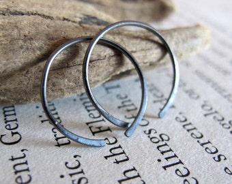 Small Black Sterling Silver Hoop Earrings - Open Black Hoops - Elegant Hammered unisex Hoop earrings for everyday wear - medium size hoops
