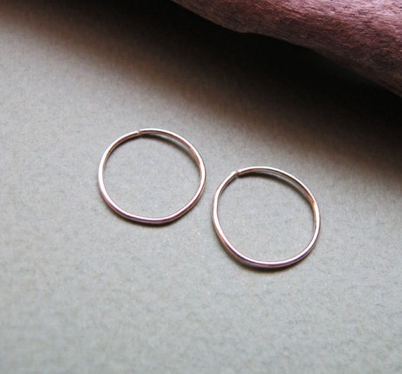 Extra Small Hoop earrings - Gold Filled Cartilage / Tragus / piercing/ Helix / Nose Ring 10mm hoops / Small Earrings / Inner Diameter