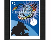 Robot Print - RicksRobots Original Artwork, Really Cool, Retro Alien Attack 8X10 Print