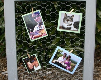 "22x26"" Gray Vintage style bulletin board made with chicken wire"