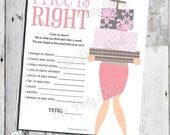 The Price is Right Baby Shower Game, Shabby Chic, PRINTABLE, Customizeable Items