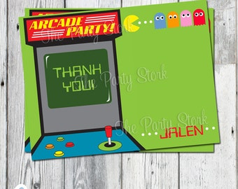 Arcade Birthday Party Thank You Card: Digital Printable File, matching invite available