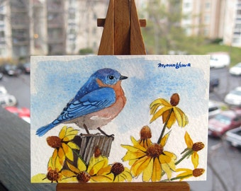 ACEO Limited Edition  - Bluebird with black-eyed Susan