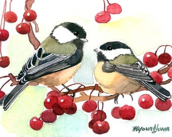 ACEO Limited Edition 7/25- Chi-ka-dee-dee-dee, Chickadee  Art print of an ORIGINAL ACEO watercolor painting, Gift for bird lovers