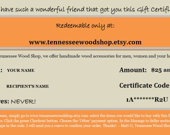Gift Certificate - 150 Dollar Value - Tennessee Wood Shop Gift Card