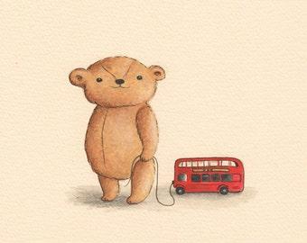 Teddy Bear with Red Bus, Art Print, Nursery Decor, London Nursery Art, Baby Gift, London Baby, Vintage Teddy Bear, Watercolor Art, Gift