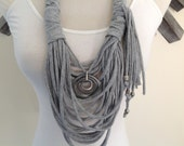 Scarf Necklace:  Gray Circles of Life