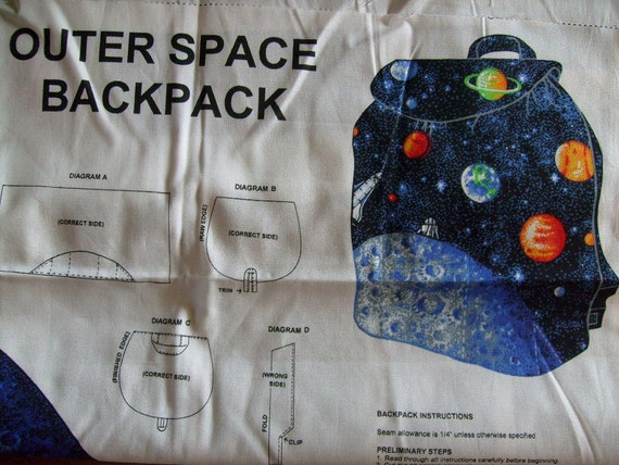 Outer space backpack cut out printed fabric panel for Outer space fabric panel