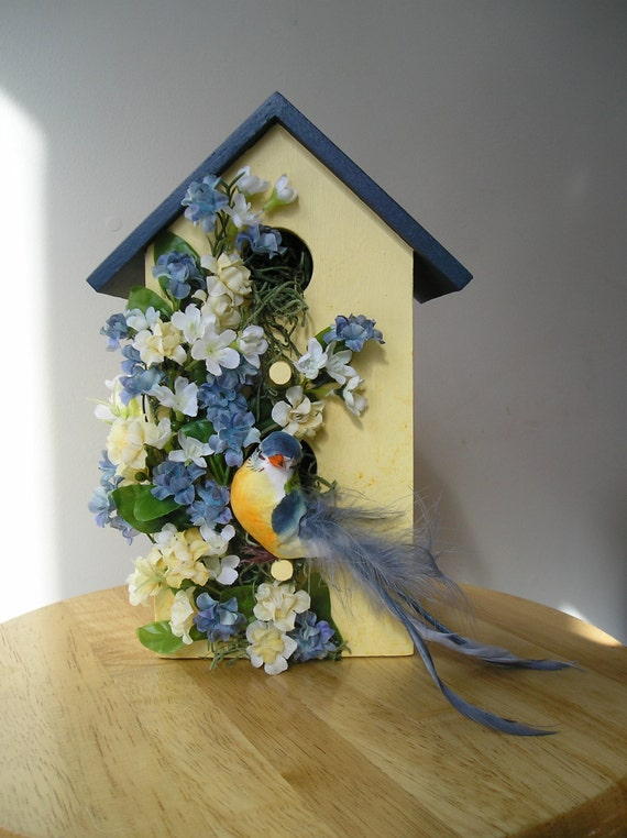 Indoor Decorative Handpainted Birdhouse With Blue Bird And