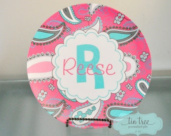 Personalized Plate - Paisley - Personalized Plate for Girls