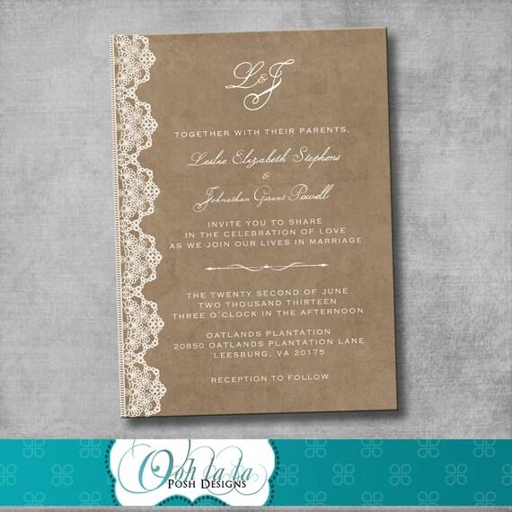 Kinkos Wedding Invitations: Wedding Invitation Vintage Rustic Victorian By