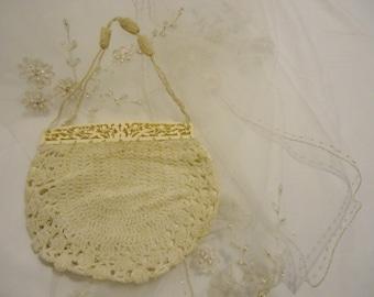 Victorian Antique Crochet Purse Edwardian Art Nouveau