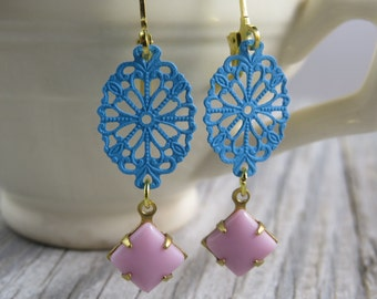 Pastel spring filigree dangle earrings with a vintage pink glass stone, spring earrings, summer earrings, bohemian