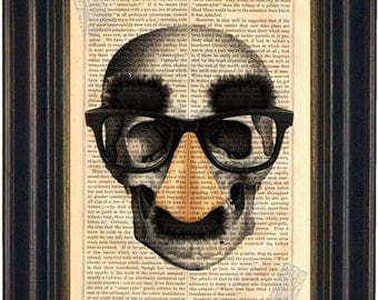 Groucho Mask Skull Print on vintage upcycled page mixed media digital