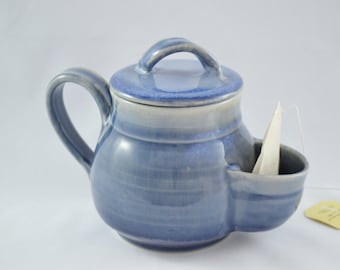 Blue Pocket Mug with Lid, Sidekick Mug with Lid, Stoneware Tea Mug with Tea Bag Pouch, Made to Order