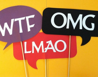 3 Thought bubbles on a stick, Wedding photo props, photo booth props,  OMG-WTF-LMAO on a stick
