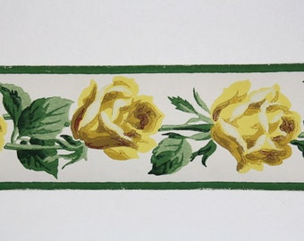 Full Vintage Wallpaper Border - TRIMZ -  Beautiful Floral, Yellow Roses - 3 inch