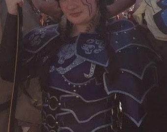 Leather Armor Ladies Tribal Wolf Dark Talon Chest Back & Shoulders