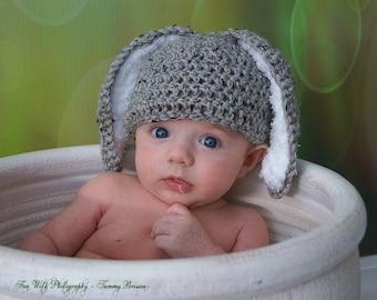 Crochet Baby Hat Easter Bunny Rabbit Ears Photo Prop Grey baby boy baby girl floppy ear bunny