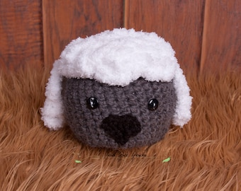 CLEARANCE Crochet Sheep Hat, Farm Animal, Photography Prop, baby 0 to 3 Months