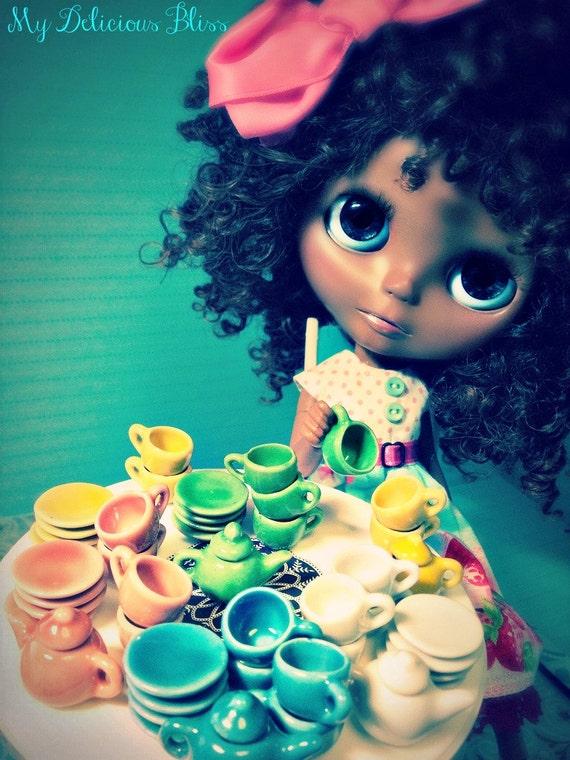 Miniature Celadon Glazed Ceramic Tea Set, 10 pieces