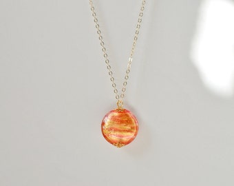 Authentic Murano Glass Pendant Necklace, Venetian Glass 24 K Gold Lined Coin Pendant on 18 inch Gold Filled Chain