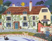 Bloomsbury Group - Vanessa Bell - Charleston Farmhouse - Greeting Card - Sussex - Garden - Painting - Pond - Swan