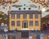 Bronte Sisters - Greeting Card - Haworth Parsonage Museum - Geese - Yorkshire Moor - Moon - Writers' Houses - Graveyard - English Literature