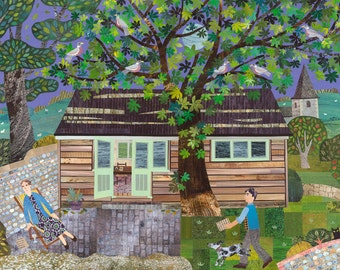 Virginia Woolf - Bloomsbury Group - Greeting Card - Monk's House - Naive Art - Collage - For Book Lovers - Garden - National Trust - Sussex