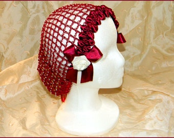 1800's Civil War Victorian Burgundy Snood with Pearls and Roses Hair Net Handmade 100% cotton