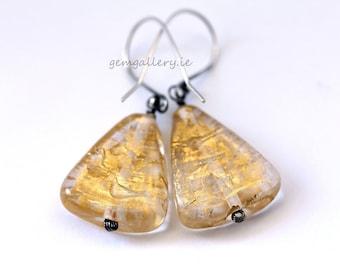Gold Murano Glass Earrings,  Glass & Sterling Silver Jewellery