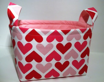 Fabric Storage Basket Bin Organizer Storage Container-Red and Pink Hearts with Solid Pink Interior