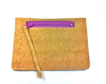 Cork Leather Wallet, Pouch, Change Purse, Coin Purse, Colored Zipper, ECOfriendly, renewable, sustainable VEGAN