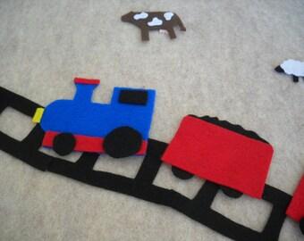 Large Felt Train Wall Hanging, 2 x 2 1/2 feet