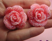 3 pcs Faux RHINESTONE AB Light Pink 34mm Decoden Flatback Resin Flower Cabochons