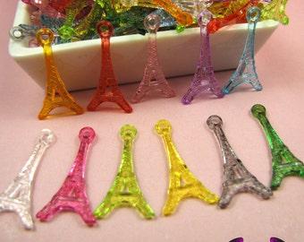 PARIS EIFFEL TOWER Acrylic Pendants / Charms 30x15mm  (15 pieces)