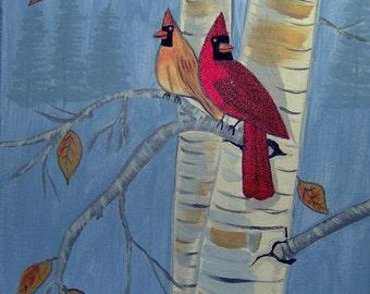 Cardinals in a Birch Tree