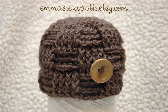 Crochet newborn baby boy hat basketweave checker beanie hat in taupe for newborn baby boy photography photo prop