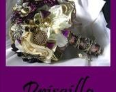 PRISCILLA - Purple / Ivory Brooch Bridal Bouquet - PRISCILLA