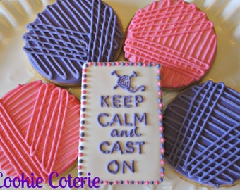 Knitting Themed Decorated Cookie Favors One Dozen