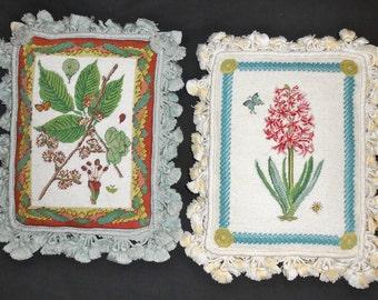 Pair Of 2 Shabby Chic Vintage Needlepoint/Tassel Pillows