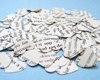 1000 The Great Gatsby Heart Novel Wedding Confetti - Vintage Wedding - Table Decoration Paper Hearts