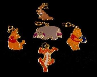 Disney Charms LOT Winnie The Pooh Characters Enameled Gold Tone Five 5 Walt Disney Character Figurals
