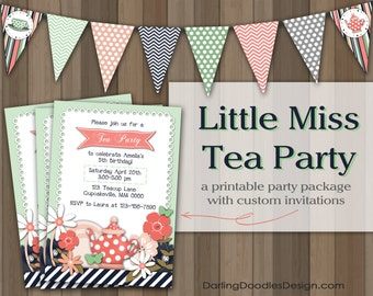 Tea Party Invitation - Tea Party Birthday - Printable Tea Party Package - DIY Tea Party - Girl Tea Party - Girl Birthday Invite - Tea Pot -
