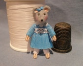 Miniature OOAK Grey Mouse Doll